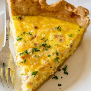 ham and cheese quiche slice