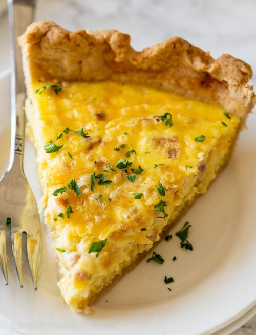 ham and cheese quiche slice