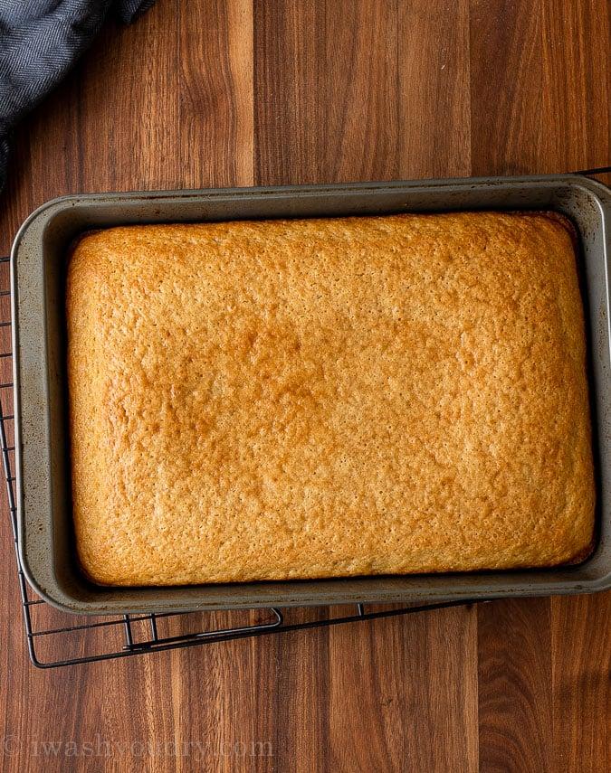 baked vanilla cake in pan