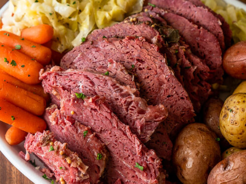 platter of corned beef and cabbage