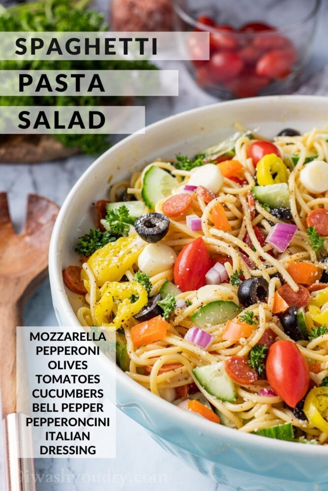 Spaghetti Salad in white bowl with text overlay.