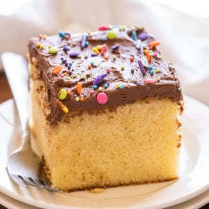 slice of vanilla cake with chocolate frosting