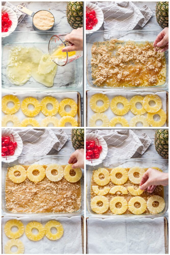 pouring butter into glass pan, brown sugar in pan, pineapple in pan.