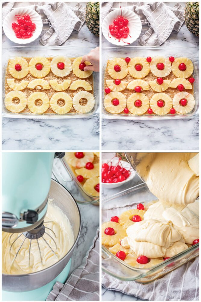 marachino cherries in pineapple rings in glass pan, mixing bowl with cake batter, pouring cake batter over pineapple and cherries.