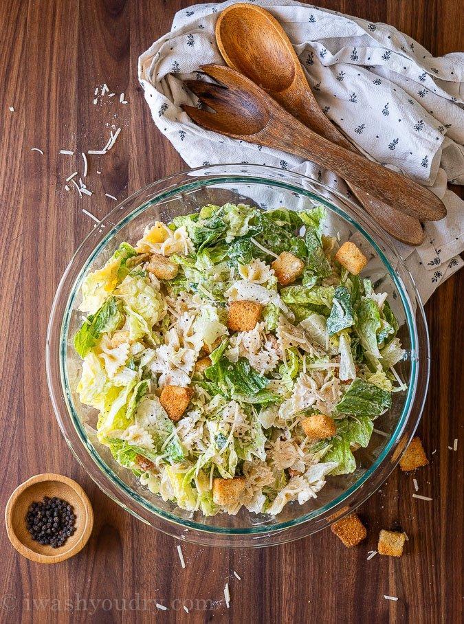 Caesar pasta salad in large bowl