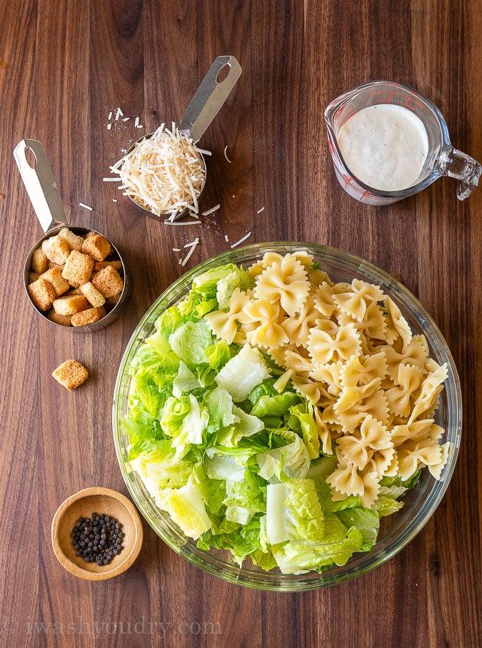 ingredients needed for caesar pasta salad