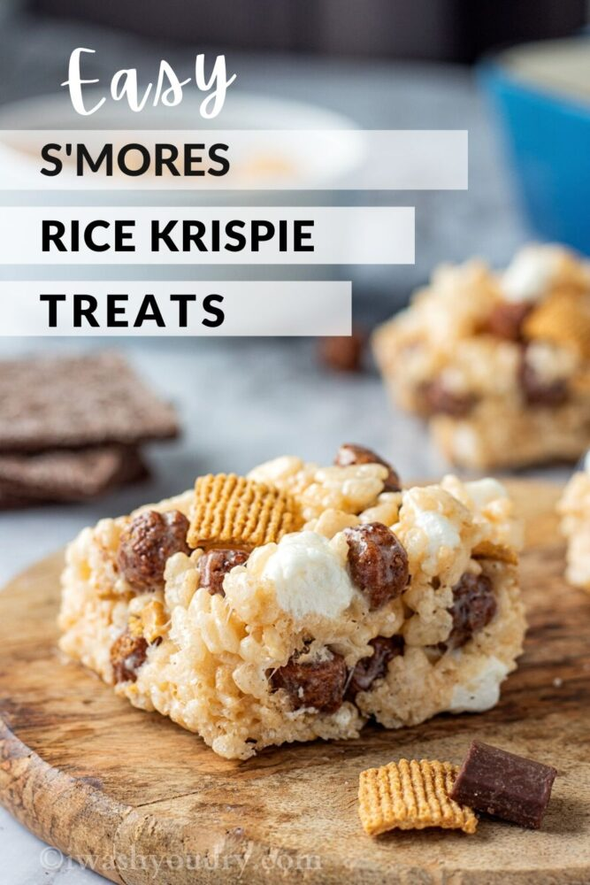 S'mores Rice Krispie Treat Square on wood board with text overlay