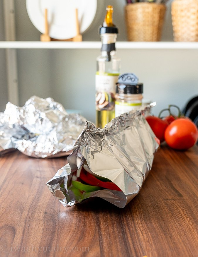 wrapping foil packet for grilled shrimp