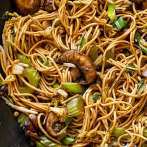 Vegetable Chow Mein with mushrooms and celery