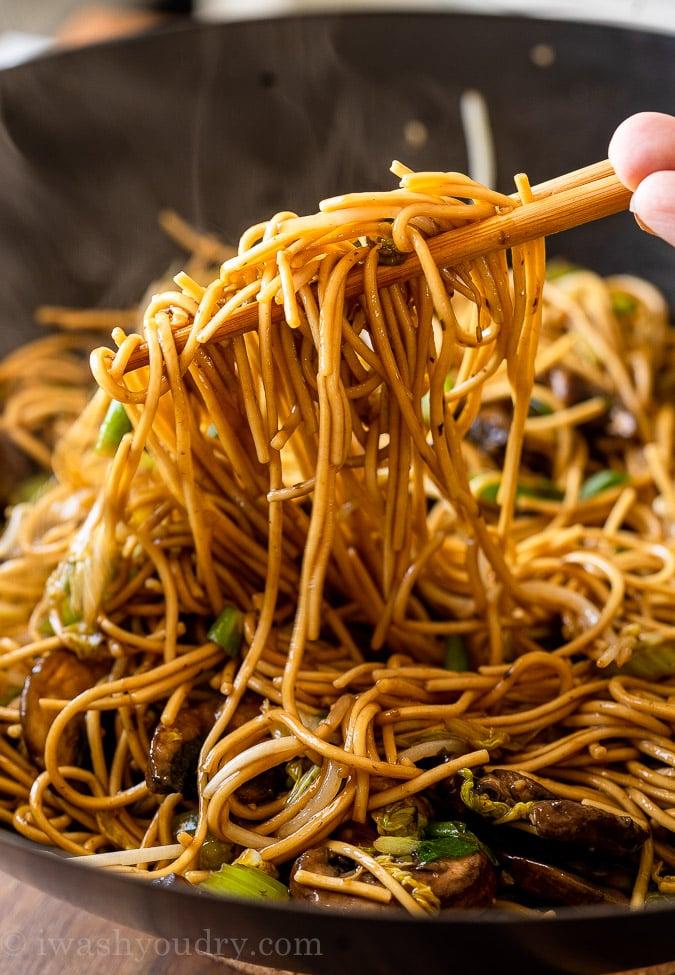 Lo Mein noodle recipe with chopsticks