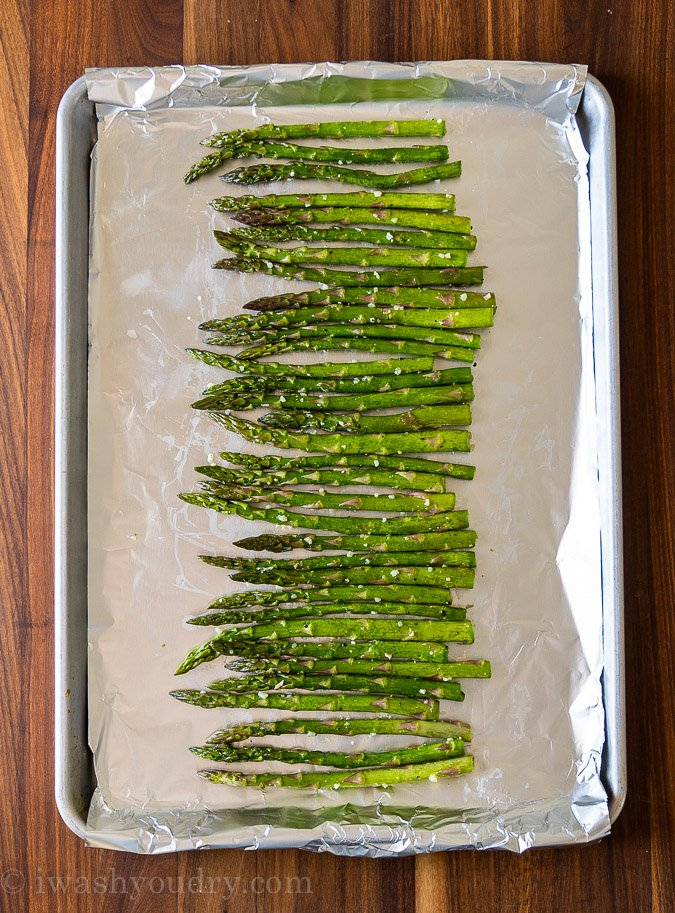 asparagus on baking sheet with foil