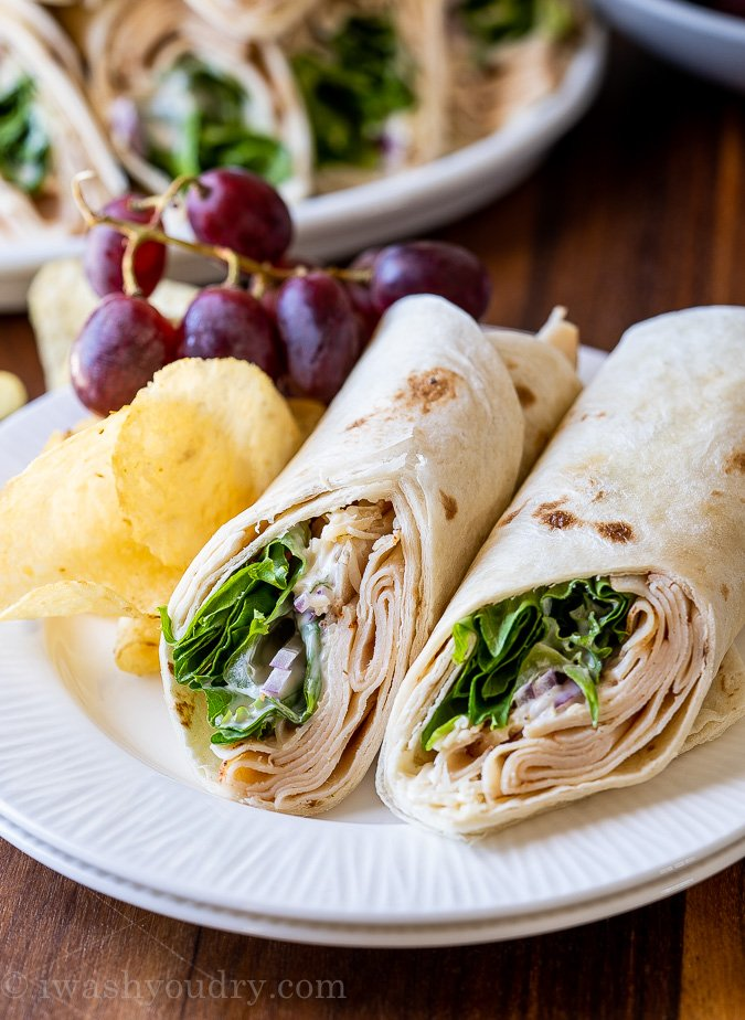 chicken wraps on plate with chips and grapes