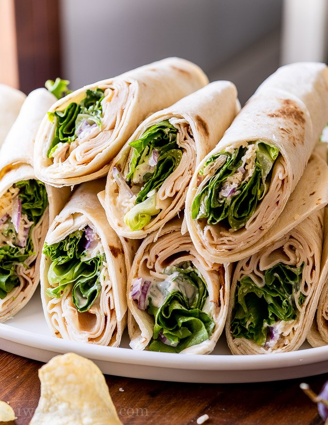 easy lunch ideas include a tasty wrap and chips