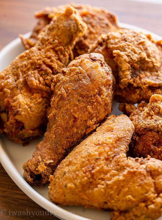 Fried Chicken pieces on a white plate