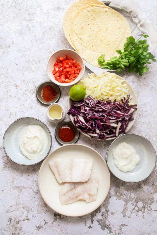 Ingredients for grilled fish tacos on surface