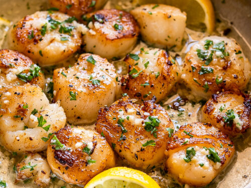 sea scallops with butter, garlic and lemon