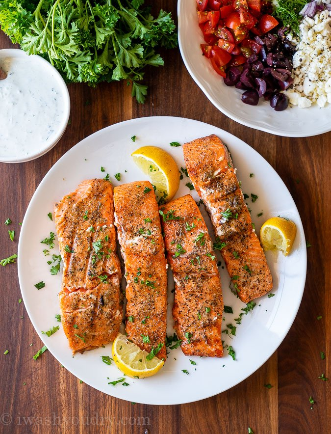 grilled salmon on plate with lemon