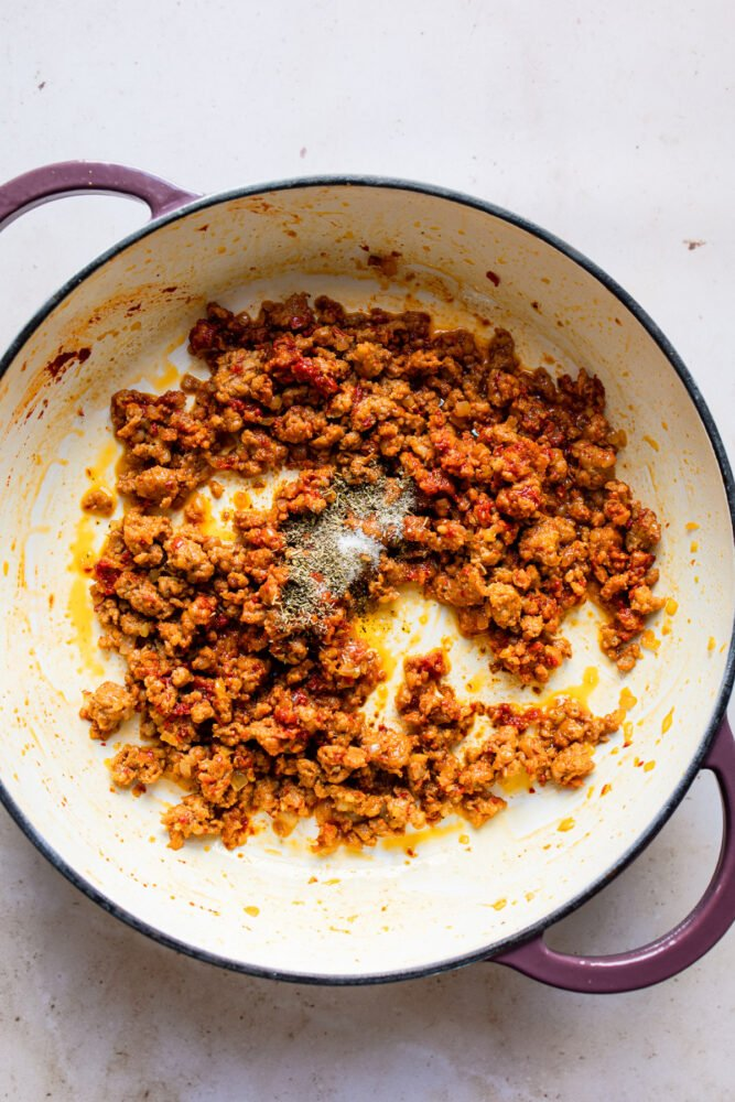 Browning ground sausage in pan