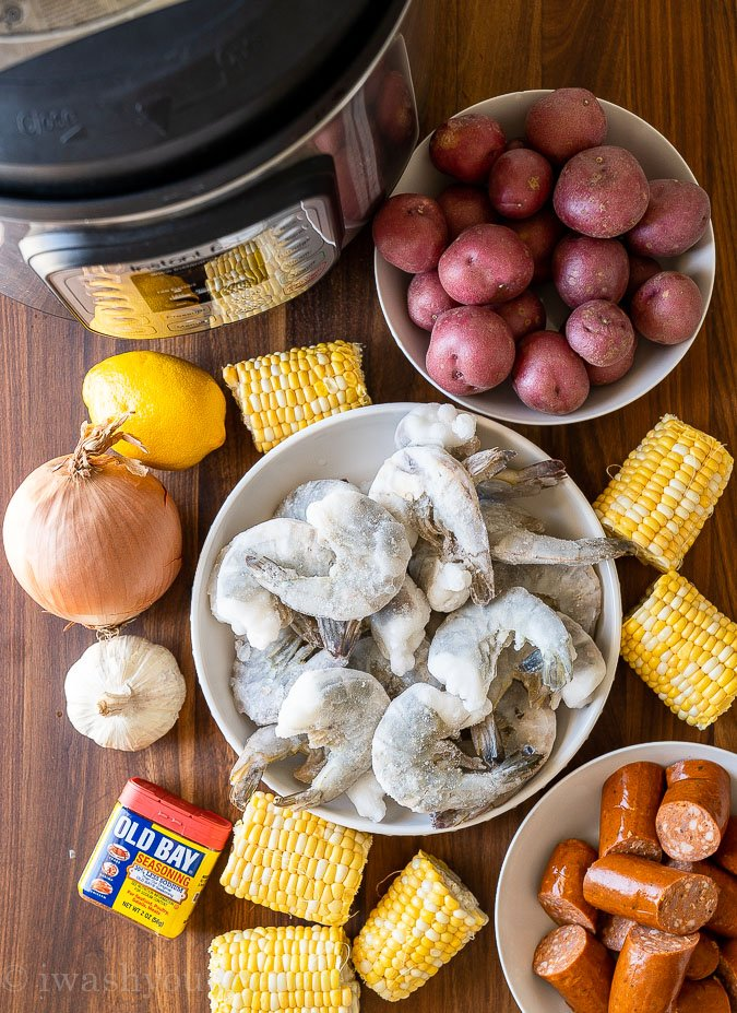ingredients needed for a shrimp boil