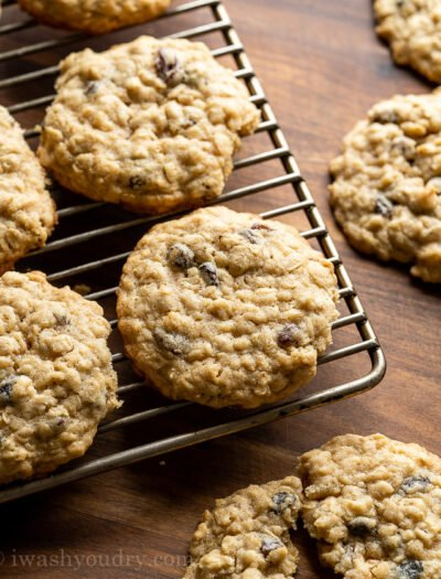 Oatmeal Raisin Cookies on cooling rack
