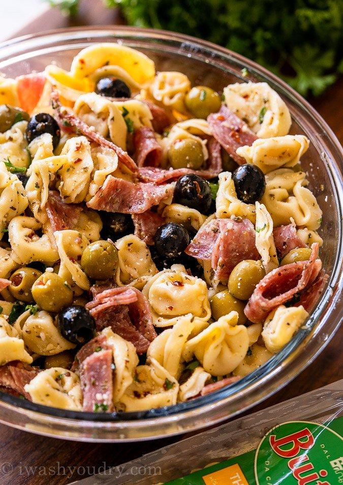 Olive Tortellini Pasta Salad recipe in bowl