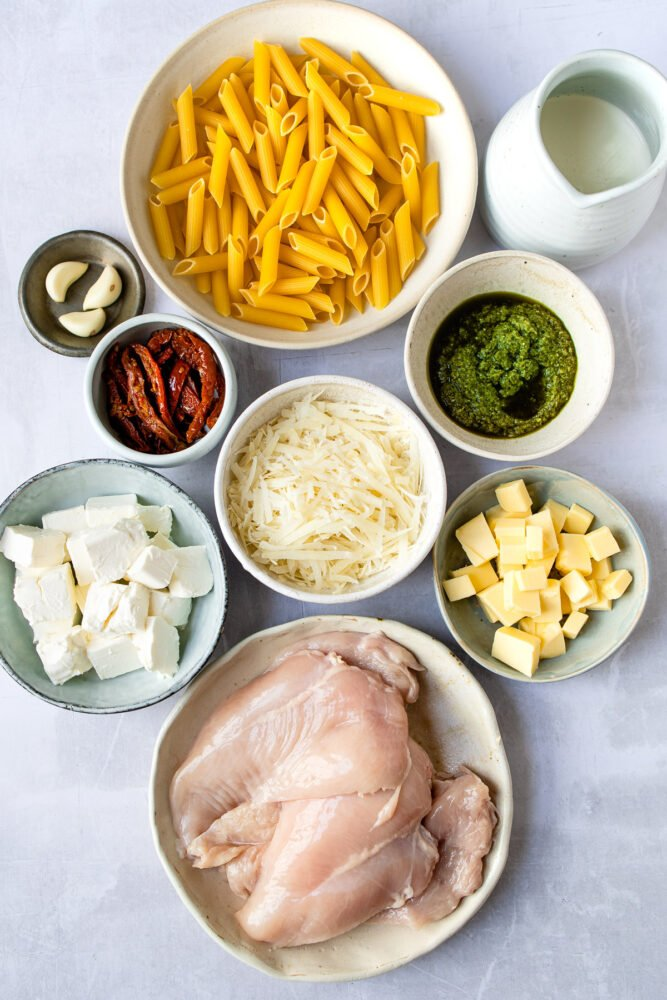 ingredients needed for basil pesto chicken and penne