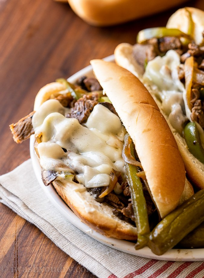 cheesy philly cheesesteak sandwich with peppers and onions