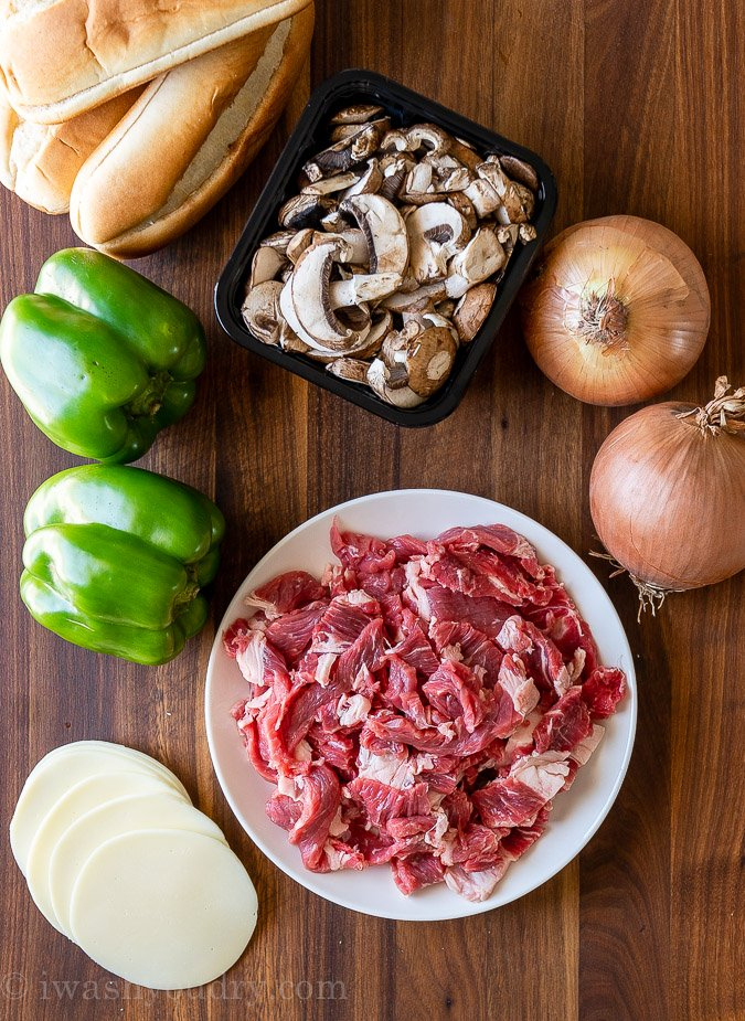 ingredients for philly cheesesteak sandwiches