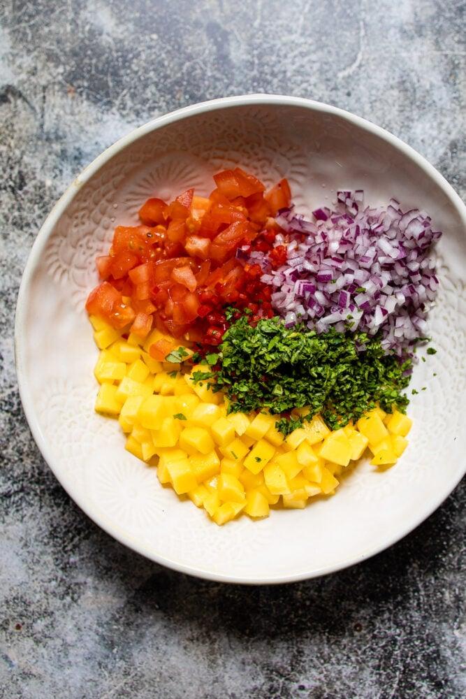 Mango Salsa ingredients in white bowl