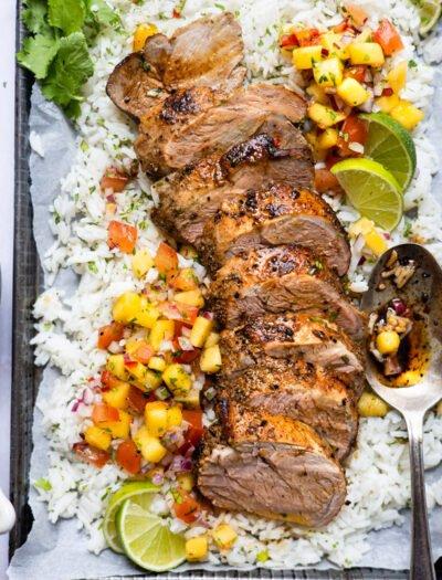 Smoky Pork Tenderloin with rice and mango salsa