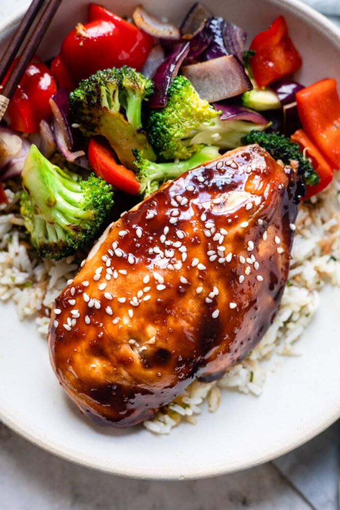 teriyaki chicken with rice and vegetables