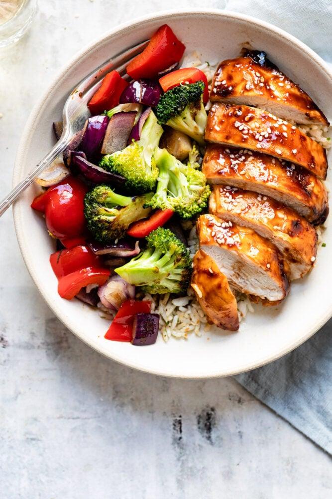 teriyaki chicken with veggies and rice