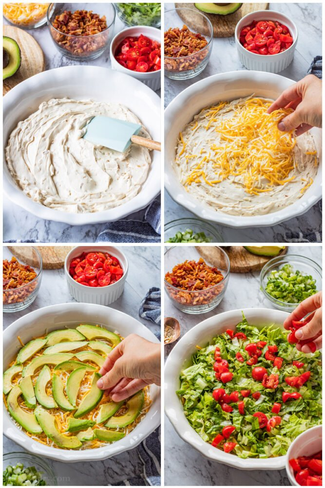 process of layering cream cheese dip, cheddar cheese, avocado, and lettuce and tomato.