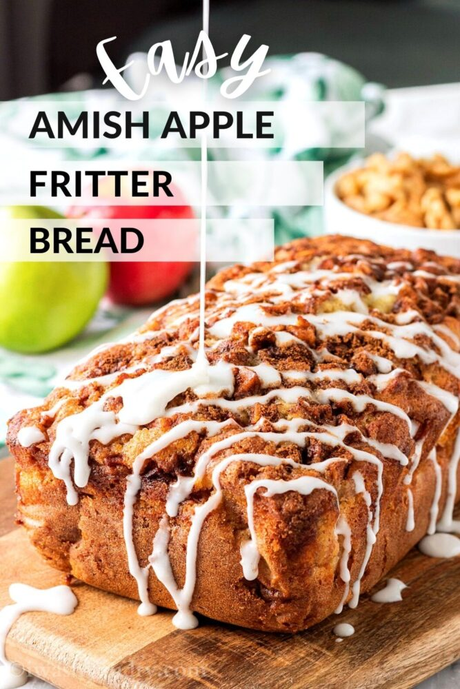 """Baked Amish Apple Fritter Bread with vanilla glaze and text overlay """"Easy Amish Apple Fritter Bread"""""""